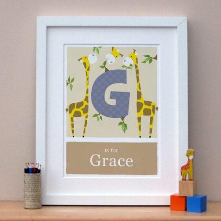 personalised giraffe alphabet print main image