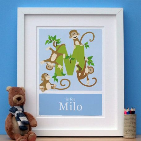 blue personalised monkey print main image