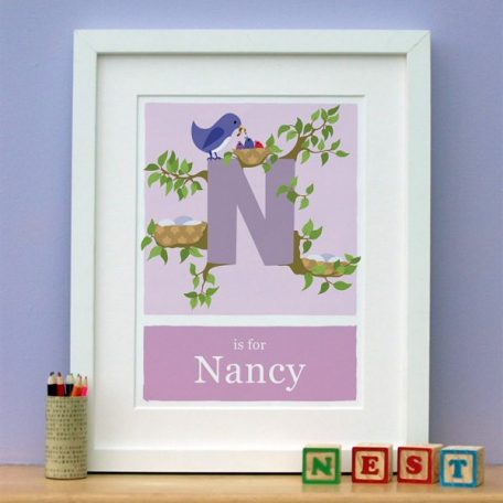 personalised birds nest print main image