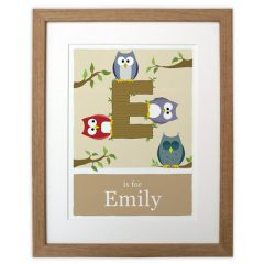 beige made to order alphabet print wooden frame