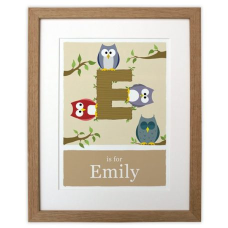 beige made to order alphabet print wooden frame