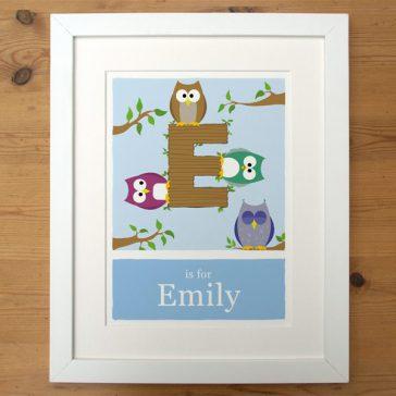 blue_made to order alphabet print in white frame