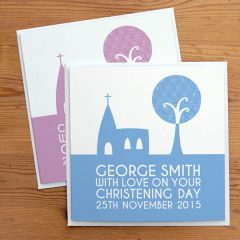 personalised christening card - church design