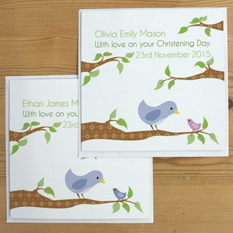 personalised bird christening card