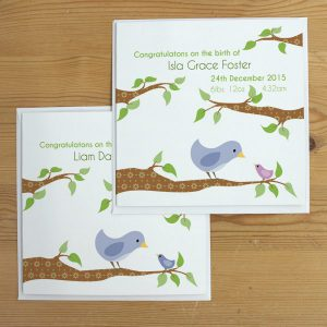 personalised bird new baby card