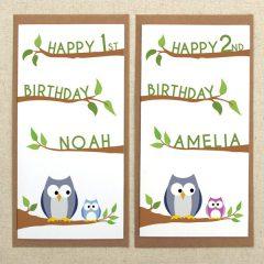 personalised owl birthday card