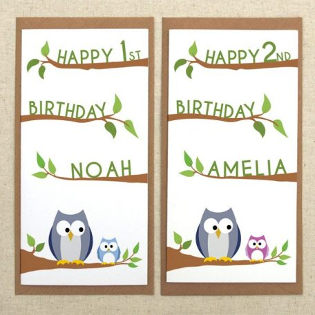 personalised owl birthday card