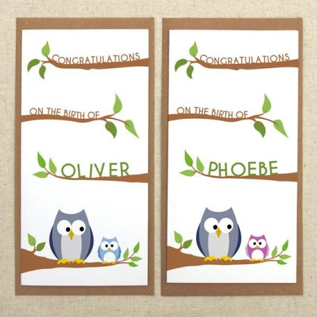 personalised new baby owl card