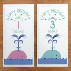 personalised whale birthday card