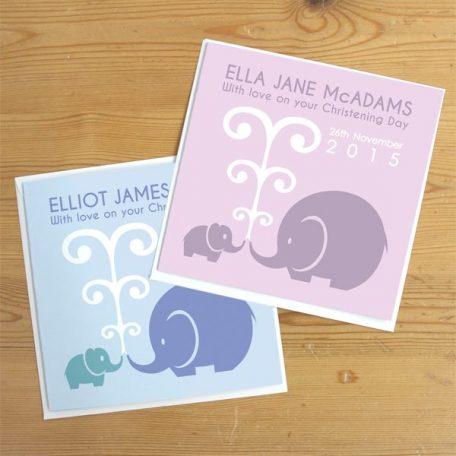 personalised elephant christening card