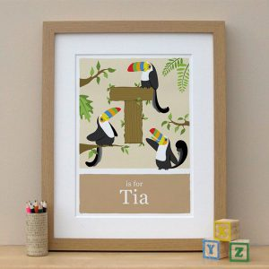 personalised alphabet toucan print