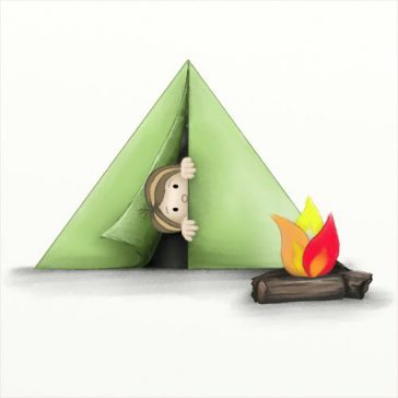 boy in tent with a little fire