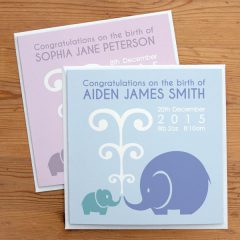 personalised new baby elephant card