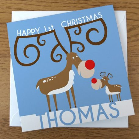 personalised reindeer christmas card