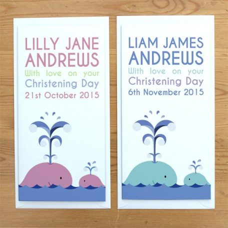 personalised whale christening card
