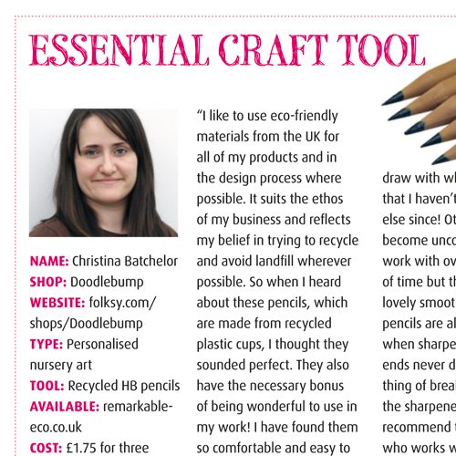 appearance in craftseller magazine