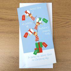 personalised elf christmas card