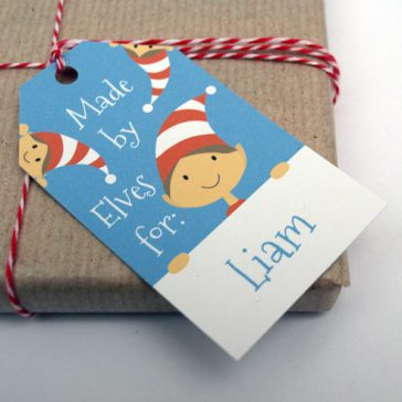 personalised christmas gift tags - elf design