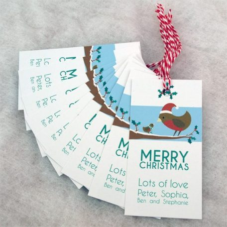 personalised robin gift tags