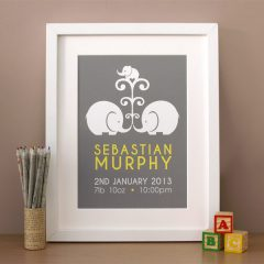 personalised elephant new baby print - elephant