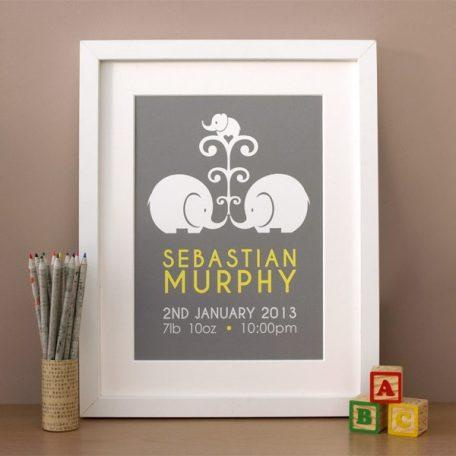 personalised elephant new baby print - elephant