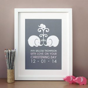 personalised christening print - elephant