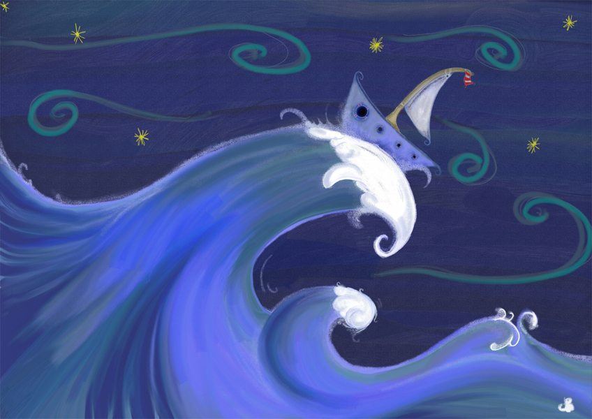 illustration friday submition by Doodlebump. A boat on rough seas
