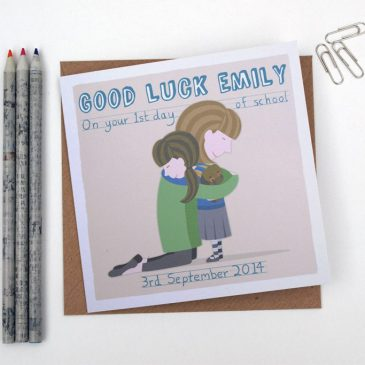 personalised first day of school card - girl