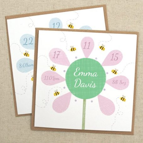 personalised new baby flower card