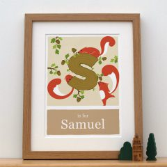 S is for Squirrel Alphabet Art by Doodlebump