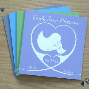 personalised heart new baby card - heart and bird design