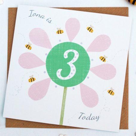 personalised flower birthday card