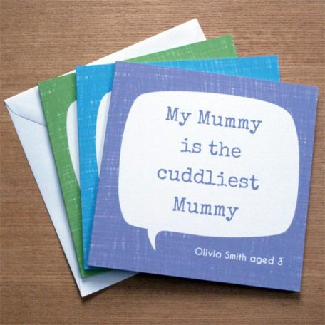 personalised quote mother's day card
