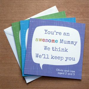 personalised mother's day card - you're awesome quote design