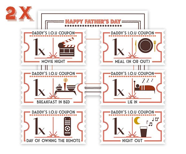 Fathers day competition pre made IOU coupons
