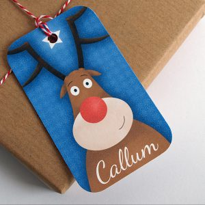 personalised reindeer Christmas gift tag