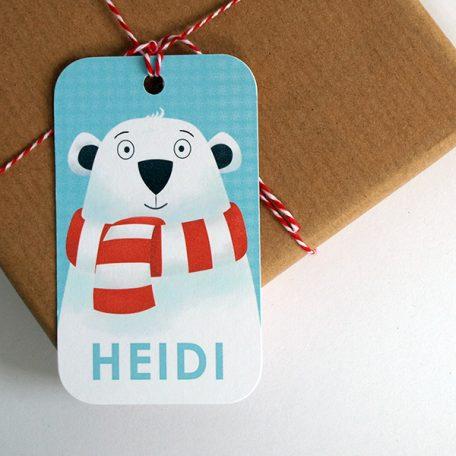 Personalised polar bear Christmas gift tags